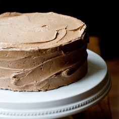 Fudgy Black and White Devil's Food Cake: Four layers of rich chocolate cake filled with vanilla buttercream