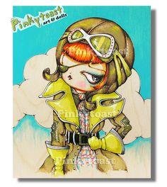 3 aviator vinyl pilot outsider art pinkytoast painting 2013 by pinkytoast, via Flickr