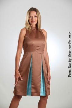 Blue and brown the perfect combination. Dress made by Preta Ros