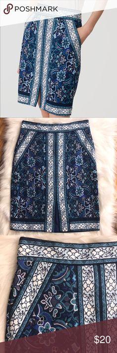 Spotted while shopping on Poshmark: Loft Sz 6 Tall blue white floral pencil skirt GUC! #poshmark #fashion #shopping #style #LOFT #Dresses & Skirts