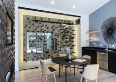 glass encased wine cellar design