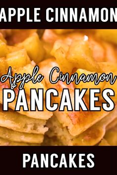 Fluffy old fashioned cinnamon pancakes topped with fresh cut apples that are cooked in a cinnamon syrup glaze. Serve with more syrup or powdered sugar. Brunch Recipes, Fall Recipes, Breakfast Recipes, Snack Recipes, Dessert Recipes, Breakfast Time, Drink Recipes, Yummy Recipes, Cinnamon Syrup
