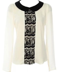 Parisian Lace Blouse: Features a dashing noir peter pan collar, long well-tailored sleeves, contrast lace placket with gorgeous sheer lace backside, and a keyhole closure at nape to finish.