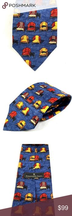 """Ermenegildo Zegna Blue Red Tie Silk Novelty Cat Ermenegildo Zegna Men's Silk Neck Tie   Colors: Blue, red, yellow Pattern: Novelty (Chairs & Dogs) Material: 100% silk Made in Italy Length: 58.5"""" (From Tip to Tip) Width: 3.75"""" (at Widest Point) New, never used Ermenegildo Zegna Accessories Ties"""