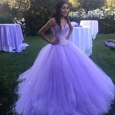 Sparkly Lavender Tulle Ball Gown Quinceanera Dresses 2017