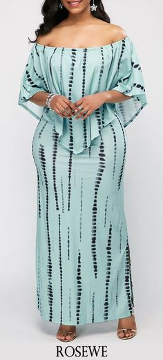 Printed Off the Shoulder Side Slit Overlay Dress. Shared by Carla Big Girl Fashion, Curvy Fashion, Look Fashion, Plus Size Fashion, Womens Fashion, Fashion Ideas, Fashion Tips, African Attire, African Wear