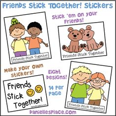 """Friends Stick Together"" Stickers for Children's Ministry to go along with the Bible Lessons about Ruth and Naomi"