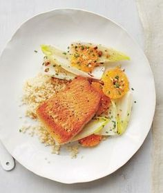 Arctic Char With Couscous and Citrus Salad recipe: This quick recipe is a great introduction to arctic char, a sustainably farmed fish with a similar color and texture to salmon.