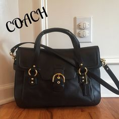 "NWT COACH CAMPBELL LEATHER EVA FLAP SATCHEL The CLASSY look!!!  Brand new with tags!!!  Retail $458. Coach Campbell Eva Leather Satchel. This stylish beauty in wrapped in soft leather with brass hardware. The top flap feathers the Campbell ""belt & buckle"" hardware with magnetic snap closure, under the flap is also an exterior pocket. Dual handles w3.5"" drop also 21"" removable shoulder strap. Hang tag. Black sateen fabric with a zip pocket and 2 slip pockets. Measures 15""x11""x4"". A steal of a…"