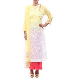 #Ivory & #Lemon Printed Cotton #Palazzos #Set by #Anju #Modi at #Indianroots