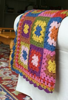 Crochet Autumn Jewel Granny Square Blanket, no pattern or item for sale, crochet inspiration,