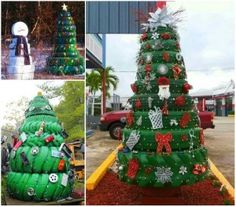 Transform old ty(i)res into these fun Christmas Trees that will look fantastic decorating your home these holidays! This is a fun DIY that . Christmas Float Ideas, Christmas Parade Floats, Christmas Farm, Old Time Christmas, Cool Christmas Trees, Outdoor Christmas Decorations, Christmas Crafts, Farm Decorations, Xmas Ideas