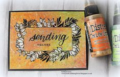 Hi folks, I'm a bit late to the Simon Says Stamp Leafy Frames June Card Kit party. At the time of writing the kit is still available to b. White Gouache, Stampers Anonymous, Foam Adhesive, Distress Oxides, Black Card, Simon Says Stamp, Black Paper, Watercolor Cards, Card Kit