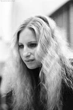"""Barbra Streisand photographed during a recording session of """"LAZY AFTERNOON"""" in 1975."""