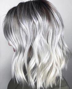 Lovely purple hair color ideas trending in 2019 00050 Greyish Blonde Hair, Ice Blonde Hair, Dark Roots Blonde Hair, Silver Blonde Hair, Balayage Hair Blonde, Hair Color Purple, Platinum Blonde Hair, Ombre Hair, Ash Blonde