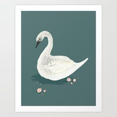 Watercolor Swan Art Print by petitpippin