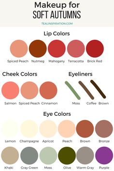 My main make up colors // Clear Winter Makeup Colors Soft Autumn Makeup, Soft Autumn Color Palette, Winter Makeup, Spring Makeup, Light Spring Palette, Autumn Colours, Winter Colors, Soft Autumn Deep, Warm Autumn