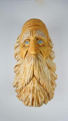 Original Wood Spirit Carving Ooak Hobbit Sorcerer Wizard Knome Scott Longpre
