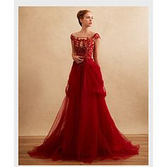Formal+Evening+Dress+A-line+Off-the-shoulder+Sweep+/+Brush+Train+Tulle+with+Appliques+/+Beading+–+USD+$+139.99