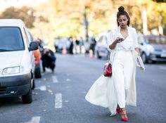 All white everything. Red accents, they are always a good idea! Paris Fashion Week