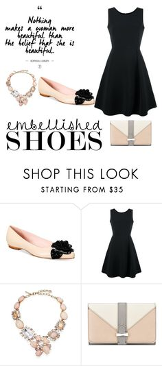 """Black and Cream Embellished Shoes"" by gracieford10 ❤ liked on Polyvore featuring Kate Spade, Emporio Armani, Oscar de la Renta and Nine West"