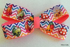 Shopkins Rainbow Chevron & Neon Pink Hair Bow, Apple Blossom, Posh Pear, Pineapple Crush Clip, Cupcake Queen Girls Barrette, Miss Mushy-Moo by SmoreCrafty on Etsy