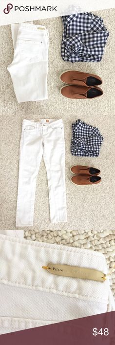 "🆕{Listing} Anthropologie White Jeans White skinny jeans by Pilcro and the letterpress for Anthropologie. Size 27, Fit / Stet. Inseam 30"". Perfect jeans for Summer!!! Add a gingham blouse for a cute outfit. In good condition. One small spot on leg, barely noticeable, see pic. Anthropologie Jeans Skinny"