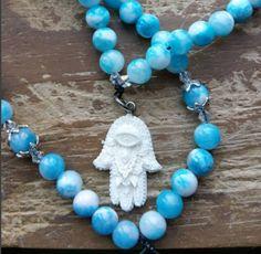 Hamsa, pagan rosary, pagan prayer beads, pagan mala, witch prayer beads, witch mala, witch rosary, wicca rosary, wicca prayer beads by MagickAlive on Etsy