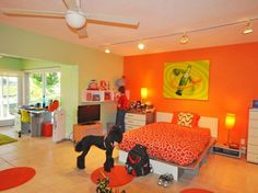 Green orange bedroom decor color and bright living room with on . Orange Bedroom Decor, Teen Bedroom Colors, Boys Bedroom Themes, Bedroom Green, Home Decor Bedroom, Girls Bedroom, Teen Bedrooms, Bedroom Wall, Bedroom Interiors