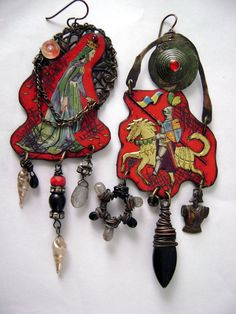 I Ride For You M'Lady Deux recycled tin, assemblage earrings by Anvil Artifacts