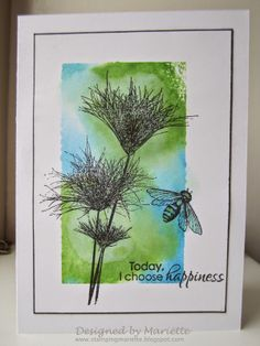 hand crafted card ... papyrus images stamped over color block in olive and blue…