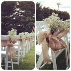 Burlap chair sash/tie...cute for ceremony aisle