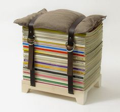 Magazine Chair: Need a cool stool for your home? Stack up a pile of magazines to make this unique chair. Add a pillow to the top, and youre good to go! Source: Selekkt