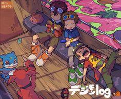 Davis, Takato, Takuya, Veemon, & Guilmon !!