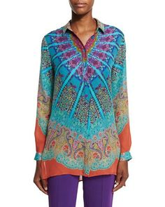 ETRO Mandala Printed Silk Tunic, Turquoise/Purple/Orange. #etro #cloth #