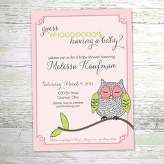 Owl Baby Shower Invitation  Baby Girl Shower