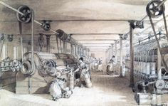 Swainson Birley Cotton Mill near Preston, Lancashire, This interior view of the mill shows women carding, drawing and roving the cotton. Industrial Revolution In England, Preston Lancashire, Social Studies Curriculum, Cotton Mill, Machine Photo, Pen And Wash, Woman Drawing, Cumbria, Lake District