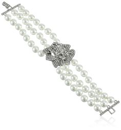 Kenneth Jay Lane Bride Simulated White Pearl Crystal Rose Three Row Strand Bracelet. Imported.