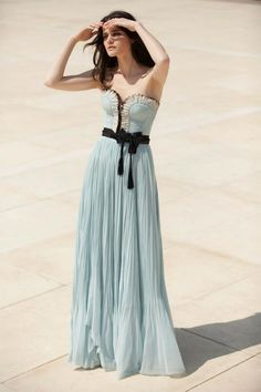 photo of Stunning Pastel Aqua Bridesmaid Dress..but with a cream bow!