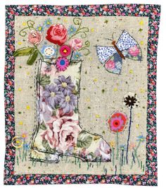 Sharon Blackman: Wellington boots etc! Freehand Machine Embroidery, Free Motion Embroidery, Free Machine Embroidery, Free Motion Quilting, Hand Applique, Applique Patterns, Applique Quilts, Fabric Cards, Fabric Postcards