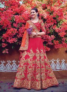 Women's Pink Striking With Embroidery Work Lehenga Choli ,Indian Dresses - 1