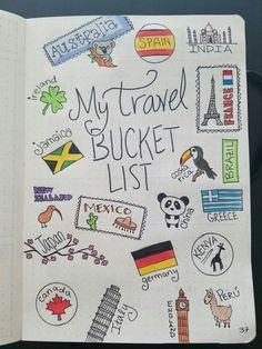 Travel bucket list! #bujo #bulletjournal #travel #bucketlist #mexico #greece #japan #australia #newzealand #brazil #china #costarica #ireland #spain #france #italy #india #england