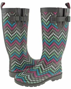 Capelli New York Ladies Tall Skinny Chevron Dots Print Rain Boot ** You can find out more details at the link of the image. This Amazon pins is an affiliate link to Amazon.