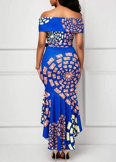 Belted Off the Shoulder Printed Mermaid Dress African Fashion Ankara, Latest African Fashion Dresses, African Print Dresses, African Print Fashion, Africa Fashion, African Dress, Women's Fashion Dresses, African Attire, African Wear