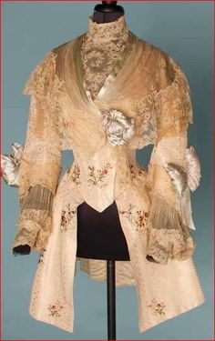 House of Worth, Evening Jacket in 18th C Style of White Figured Silk, c. 1900