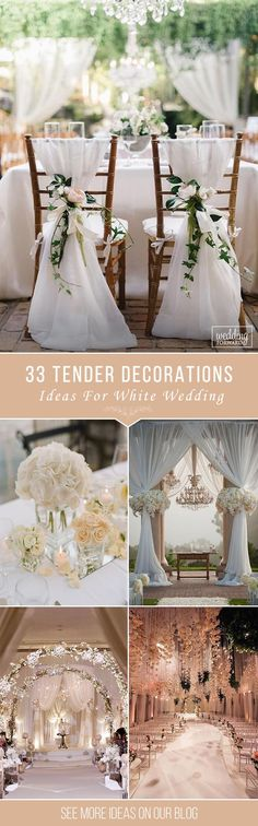 33 White Wedding Decoration Ideas ❤ See more: http://www.weddingforward.com/white-wedding-decoration-ideas/ #wedding #decorations
