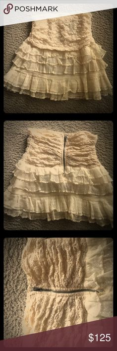 "Isabel MARANT CELEB FAV RUFFLE CREME SKIRT/TOP! TRUE EUROPEAN BOHEMIAN LACE RUFFLED SKIRT! NO ONE DOES BOHEMIAN LIKE ISABEL MARANT!  HER LOVE ❤️ FOR AMERICAN CULTURE W HER ETHNIC EUROPEAN STYLE SCREAMS """"You got it girl""""!Nice staple for any true bohemian chic! I'm a 4 and fits beautifully. Has enough spandex to allow needed stretch where and if needed!   ALSO HAVE IN BLACK, !! Isabel Marant Skirts Mini"