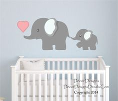 Elephant Wall Decal, by Decor Designs Decals, Nursery Wall Decal, Mom and Baby Elephant Decal, Elephants Decal Sticker, from Decor Designs Decals.