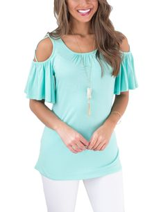 Ensure your day is cool, casual and as comfortable as can be when you wear the Fad Light Blue Scoop Neck Blouses Crossover Strap Comfort Fit from our website Fashion Over, Fashion News, Petal Sleeve, Online Shopping For Women, Street Style Women, Beautiful Outfits, Scoop Neck, Fashion Dresses, Clothes For Women
