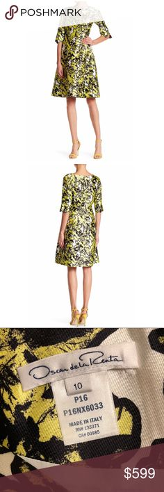 Oscar de la renta silk dress Pressed flowers Print silk mikado dress size 10. New without tags. This Chiq dress will be perfect for the upcoming holidays! •3/4 length sleeves  •back zipper  *made in ITALY* Oscar de la Renta Dresses Midi